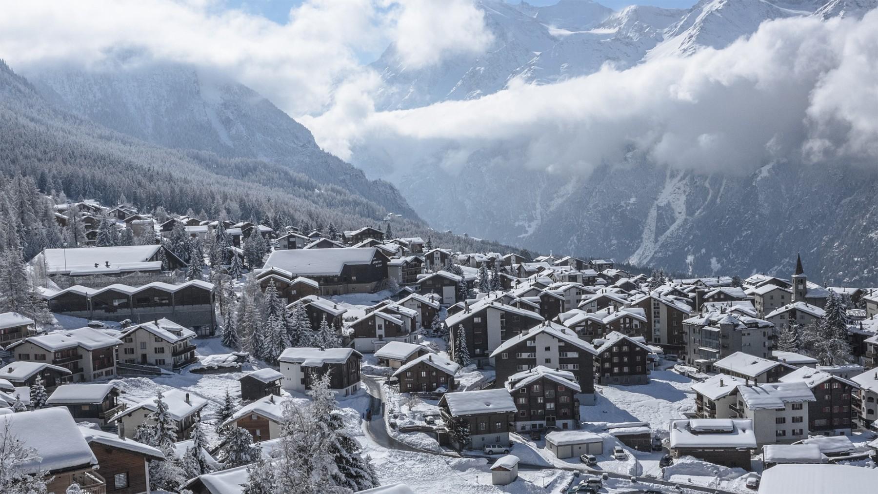 Aussicht auf Grächen, Dorf
